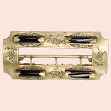 Antique 10k Gold Victorian Sash Buckle Engraved Black Glass Accents