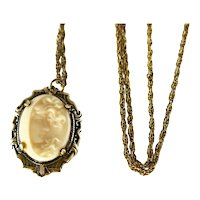 10k Gold Art Nouveau Crescent Moon Lady  Cameo with Chain Cream Angel Skin Coral