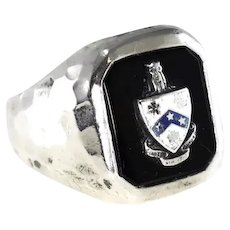 c1910 Phi Gamma Delta Fiji Fraternity Ring Sterling Silver Enamel Arts and Crafts Style
