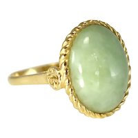 Vintage 14k Gold Jade Ring 8 Cts Victorian Style Setting