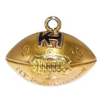 10k Gold Football Pendant Charm 1932 KH Prep North East Champs