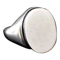 European Silver Signet Ring Ready for Engraving 8.3g Sturdy