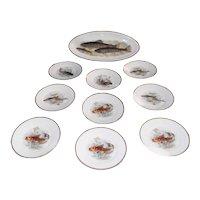 Antique Porcelain B. Bloch  Fish Plate Set 10 pc