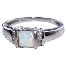 14k WG Fiery Opal and Diamond Ring Sz 7