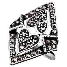 Sterling Silver Marcasite Double Heart Ring Art Deco Style