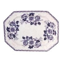 Elsmore & Forster Mulberry Purple Ironstone Platter Hibiscus 16 inch