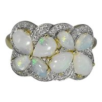14k Gold Opal Diamond Cocktail Ring Exquisite Play of Color