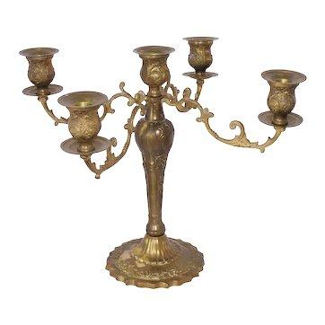 Antique Brass Finish Candelabra 5 Arm 16 Inch Span Large