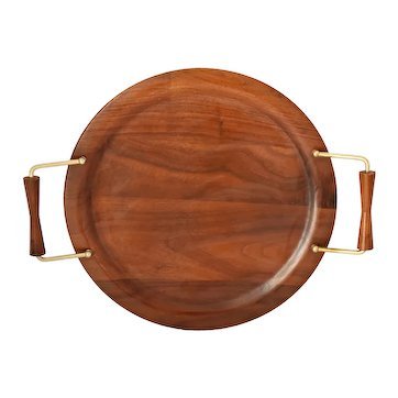 Mid Century Modern Flame' Walnut Wood Tray Large Great Style