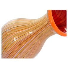 Mid Century Modern Murano Pinstripe Art Glass Vase Orange Red Multi