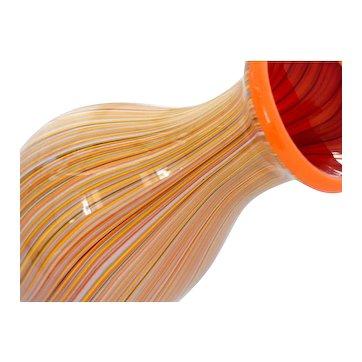 Mid Century Modern Murano Pinstripe Art Glass Vase Orange Red Multi