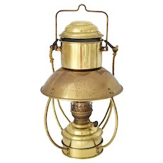 "Vintage Brass Nautical Oil Lamp Den Haan Holland with Ideal 20"" Burner"