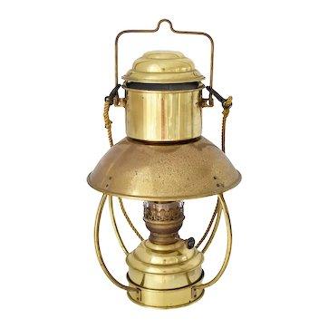 "Vintage Brass Nautical Oil Lamp Den Haan Holland with Ideal 20"" Burner"