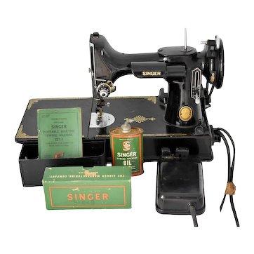1953 Singer Featherweight 221 Sewing Machine Working w Extras