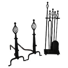 Arts and Crafts Andirons with Matching Tool Set Wrought Iron c1940 American