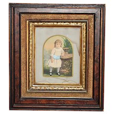 Antique Watercolor Little Girl Victorian Deep Walnut Frame With Gilt and Leopard Paint