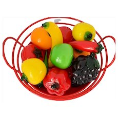 Vintage Art Glass Fruit 12 Pc Hand Blown Peppers