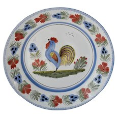 Quimper Rooster Faience Large Serving Plate 12.25 inch French Country