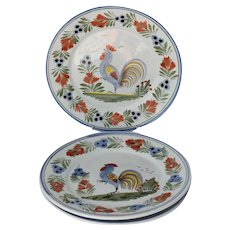 HB Quimper Le Coq Breton Rooster Dinner Plates X3 Hand Painted France Signed
