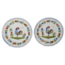 Heriot HB Quimper Rooster Bread Plates Faience French Pottery