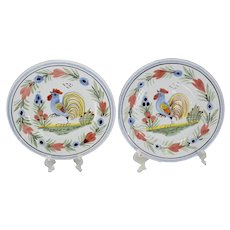 HB Quimper Faience Rooster Plates 6.5in Le Coq Breton X2