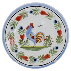 HB Quimper Faience Rooster Plate Le Coq Breton 6.5 inch Signed