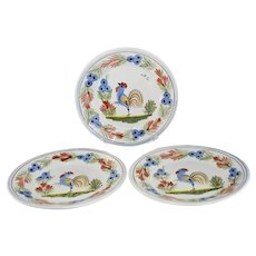 Quimper Le Coq Breton Rooster Dessert Plates X3 Faience Pottery Artist Signed RL