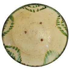 Antique Earthenware Bowl with Green Polychrome Drip Glaze