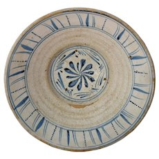 Antique Blue and White Decorated Earthenware Bowl Tin Glaze Farmhouse Decor