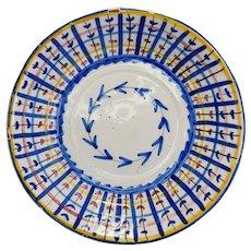 19th Century Colorful Faience Bowl Spain Tin Glaze