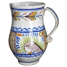 Early 19th Century Faience Wine Jug Pitcher Colorful Ferns Spain