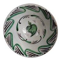 Antique Green Pepper Earthenware Pottery Bowl Tin Glaze c1860 Spain