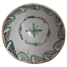 Big 19th Century Spanish Earthenware Bowl Green Decorated Tin Glaze