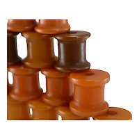 1930s Butterscotch Bakelite Barrel Beads X15 Delicious Colors