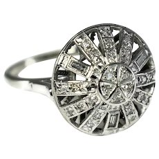 Art Deco Era 14k WG Diamond Cocktail Ring .39 ctw