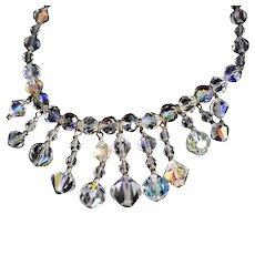 Aurora Borealis Crystal Fringe Necklace c1940s Super Iridescent