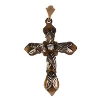 14k Rose Gold White Gold Cross Pendant Art Deco Rock Crystal
