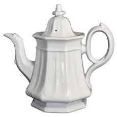 Pristine White Ironstone Coffee Pot Teapot T R Boote 1851 Octagonal Shape