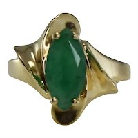 14k Gold Natural Emerald Marquise Ring 1.02 ctw