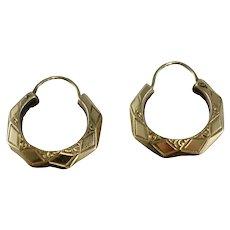 Art Deco Era 10k Gold Etched Small Hoops Hoop Earrings