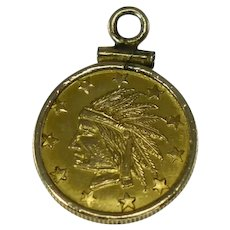 Historical US 1849 Fractional Gold Indian Coin Token California Gold Rush 11 Stars No Date On Front