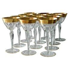 1940s Tiffin Rambler Rose Gold Encrusted Liquor Stems Liquor Glasses Stemware