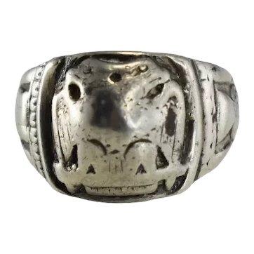 Vintage 10k White Gold Masonic Men's Ring Worn Heavy Scottish Rite 10.7g