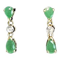 Dainty 14k Gold Natural Emerald Diamond Dangle Earrings 1.10 ctw