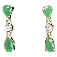 Dainty 14k Gold Natural Emerald Diamond Dangle Earrings 1.10 ctw
