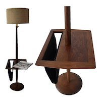 MCM Walnut Laurel Tall Floor Lamp w Table and Suede Magazine Holder