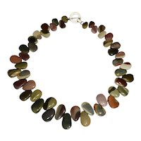 Rare  Colorful Fancy Jasper Slab Necklace Sterling Silver Toggle Hand Knotted Vintage 185+ ctw