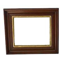 Antique Deep Walnut Frame with Gilt Liner 14.5 X 12.5 inch