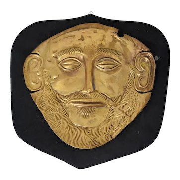 Mycenaean  Greece Gold Plated Death Mask of Agamemnon Antique Reproduction Gold over Copper