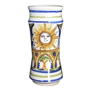 Antique Talavera Pottery Spanish Faience Vase with Sun c1900 Signed